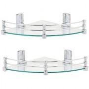 Kurvz Multi-Purpose Glass Corner Shelf with Heavy Wall Brackets(Glossy)- 10x10 Inches -Pack of 2