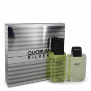 Quorum Silver For Men By Puig Gift Set - 3.4 Oz Eau De Toilette Spray + 3.4 Oz After Shave --