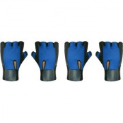 CP Bigbasket (Pack of 2)Gym Gloves with Wrist Support for Men Best in Fitness Exercise (Leather Blue Free Size)