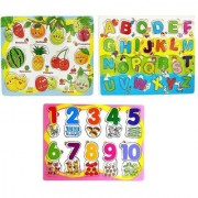 Emob Set of 3 Wooden Puzzle Learning Board with different Frames of Fruits Numbers Geometric Shapes Alphabets Transp
