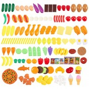 150-Piece Play Food Set - Large Variety of Fake Plastic Toy Foods for Kids to Play Pretend with - 100% BPA-Free - Bonus Food Pyramid Card Included