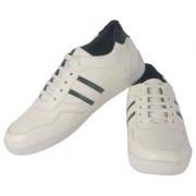 Goosebird Men Stylish White Synthetic Sneakers