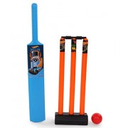 Mattel Hot-Wheels Cricket set packed in PVC carry case for Children of age 5 to 10 years| Premium Quality | Certified Safe as per European Safety Standards (EN71) | Sports development toys for Kids | Multi Color | Includes 1 Bat, 1 ball and Stumps with Ba