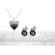 Black & Silver Ombre Necklace & Earrings Set