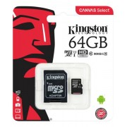 Unbranded Kingston 64gb microsdxc canvas select 80r cl10 uhs-i card+sd