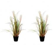 Mica Decorations 2x Kunstplant siergras met pluimen groen/bruin in zwarte pot 53 cm - Kunstplanten