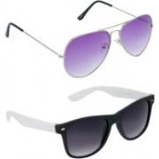 Hrinkar Aviator Sunglasses(Violet, Grey)