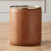 Stitch Leather Round Storage Side Table by CB2