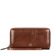 Braune Damen Leder Clutch mit abnehmbarer Schlaufe