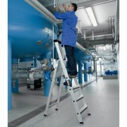 Günzburger Steigtechnik Günzburger Stehleiter einseitig begehbar mit relax step und Rollen 6 Stufen