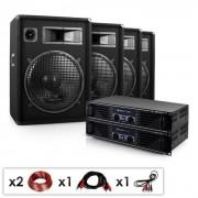 "Electronic-Star DJ PA Komplettset ""Miami Quasar Pro"" 2x Verstärker 4x Boxen"