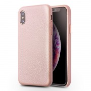 QIALINO Classic Litchi Texture Calf Skin Genuine Leather Coated PC Back Shell for iPhone XS Max 6.5 inch - Pink