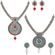Om Jewells Oxidised Rhodium Plated Combo of 2 Designer Jewellery set with artificial pearl for girls and women CO1000187