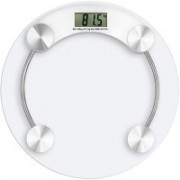 Zelenor Personal Weight Machine Thick Round Transparent Glass Weighing Scale(White)