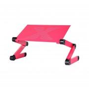Aleación De Aluminio Plegable Ordenador Escritorio 360°Rotación Soporte De Mesa De Refrigeración Rosa Roja