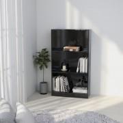vidaXL Bibliothèque à 3 niveaux Noir brillant 60x24x108 cm Aggloméré
