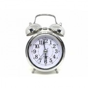 Steel Chrome White Dial Analogue Twin Bell Alarm Clock with Night LED Light 10 cm
