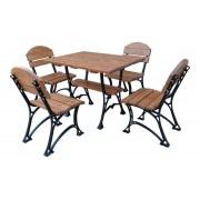 """GARTENMÖBEL SET """"RESTOR"""", Tisch und 4 Stühle, Massivholz (Erle), solides Gusseisen, lackiert."""