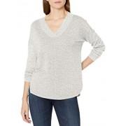 Calvin Klein Cuello en V para Mujer, Hombros caídos, con Dobladillo Delantero Dividido, Jaspeado (Optic Heather), XL