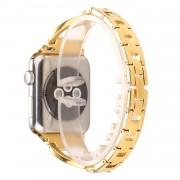 Rhinestone Decor X Shape Metal Watch Band Strap for Apple Watch Series 5 4 40mm / Series 3 2 1 38mm - Gold