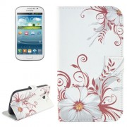 Flower Pattern Flip Leather Case with Holder & Card Slots for Samsung Galaxy Grand Duos / i9082 Neo Plus / i9060