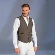 Carl Gross Linen Sports Jacket or Waistcoat, 44R - Brown mélange - Waistcoat