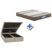 Conjunto Cama Box Baú - Colchão Probel de Espuma Guarda Costas Plus D33 + Cama Box Baú Nobuck Bege - Conjunto Box Casal - 138 x 188