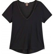 Maison Scotch V-neck tee with lurex piping black
