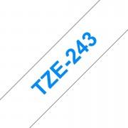 Tape 18mm TZe-243 Blå på Vit