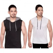 Dudlind Men Clothing Casual Hooded Sleeveless T-Shirts Colour Black and White Regular Fit Pack of 2 Pack of 2 Casual Shirts for Mens Regular wear and Party wear