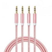AUX kabel - Ljud kabel 3,5 mm - 1M Male till Male Rosa