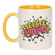 Bellatio Decorations Liefste mama cadeau mok / beker wit en geel 300 ml