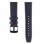 Carbon Fiber Texture 22mm Genuine Leather Watch Strap - Black with Red Stitching