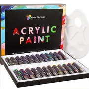 Acrylic Paint Set By Color Technik, Professional Artist Quality, Palette Included, 24 Aluminium Tubes, Best Colors For Painting Canvas, Wood, Clay, Fabric, Nail Art and Ceramic, Rich Pigments, Gift Me