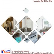 Look Decor-7 Decorative-(Silver-Pack of 7)-3D Acrylic Mirror Wall Stickers Decoration for Home Wall Office Wall Stylish and Latest Product Code Number 388