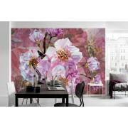 Fototapet modern cu flori roz de cristal