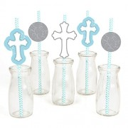 Little Miracle Boy Blue & Gray Cross Baptism Party Straw Decor With Paper Straws Set Of 24