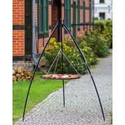 BBQ Schwenkgrill, mit Rost aus geschwärtztem Stahl 80 cm und Dreibein Stativ 200 cm Hoch.