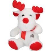 Sunkid Pluchen Rendierknuffel met Led Verlichting – Rood Wit – 22x10x7 cm   Speelgoed voor Jongens en Meisjes
