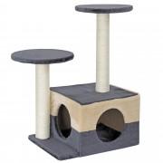 [en.casa]® Rascador para gatos árbol para trepar y arañar sisal centro de juegos -43 x 33 x 67cm blanco - gris