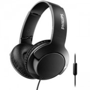 Philips слушалки с микрофон BASS+, цвят: черен, SHL3175BK