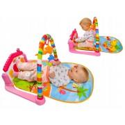 Covoras interactiv 3 in 1 cu jucarii si melodii pentru bebelusi, dimensiuni 80x60x45 cm