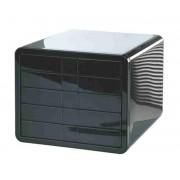 Suport plastic cu 5 sertare pentru documente, HAN iBox - negru lucios