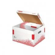 Scatole per archivio in cartone Esselte Container Speedbox M - 129363 Scatole per documenti in cartone 35,5x36,7x26,3 cm formato utile 31,5x35,7 cm dorso 26,3 cm con chiusura ad aletta di colore bianco/rosso in confezione da 15 Pz.