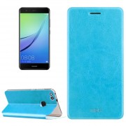 Mofi Huawei Nova Lite Caballo Loco Textura Horizontal Flip Funda De Cuero Con El Titular (azul)