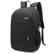 Laptop Backpack,USIN Water Repellent School Backpack with USB Charging Port Fits 15 15.6 inch, Black