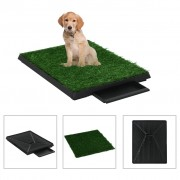 vidaXL Кучешки тоалетни 2 бр тава и изкуствена трева зелени 63x50x7 см