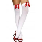Ciorapi asistenta albi cu fundita rosie