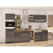 Lifestyle4Living Küchenblock, grau Hochglanz, Stellmaß: ca. 310 cm, mit Elektrogeräten inkl. Geschirrspüler