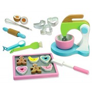 Childrens Wooden Play & Pretend Food Set, Cookie Baking Set with Cookies, Tray, Bowl, Mixer & More!
